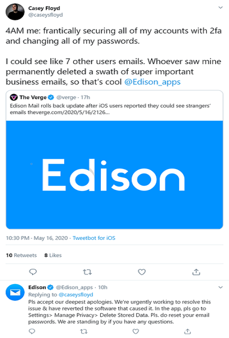 Edison assists users in securing their mail account