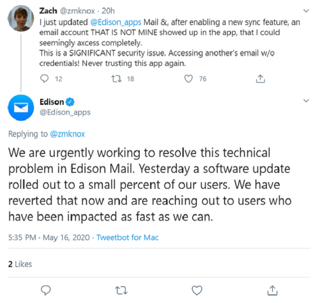 Emails via Edison Mail were suddenly visible to other users