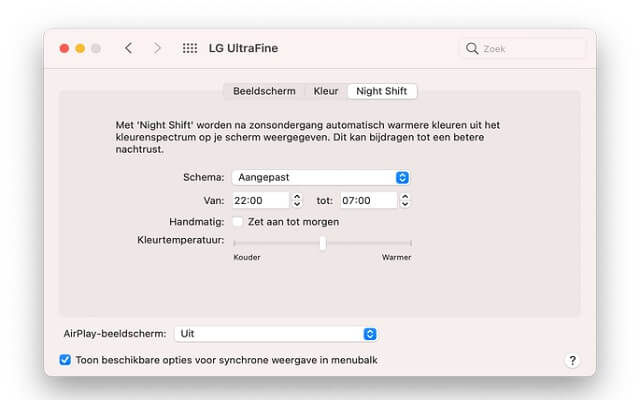 Activate Night Shift on a Mac
