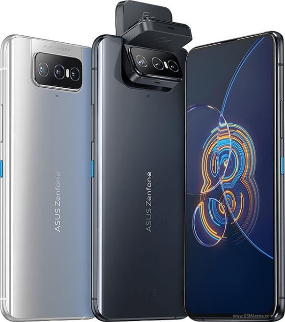 The ASUS ZenFone 8 Flip in its Horizon Silver color and Obsidian Black color